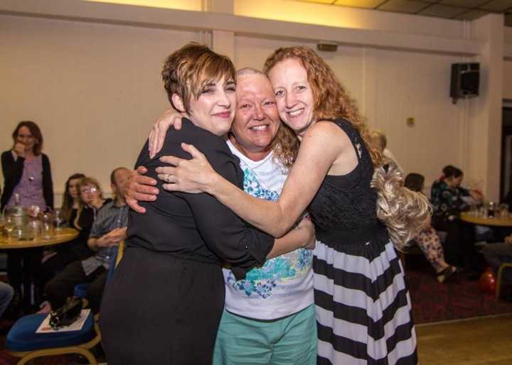 Big hugs all round for Judith from the organisers of the event