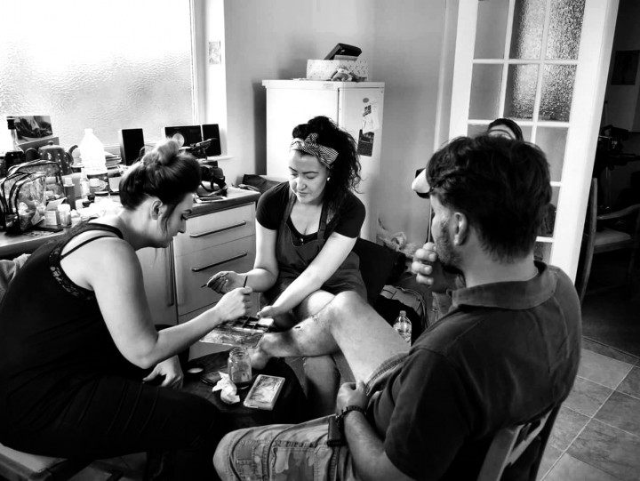 Renowned make up artist Melanie Doyle (right) with student assistant Beki Goulding (left) working on set with actor Stephen Bird