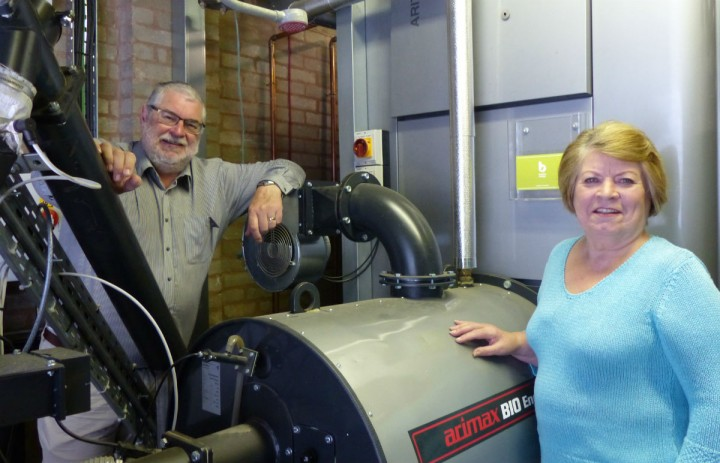 Councillor Robert Boswell and councillor Veronica Afrin with the new Fulwood boiler