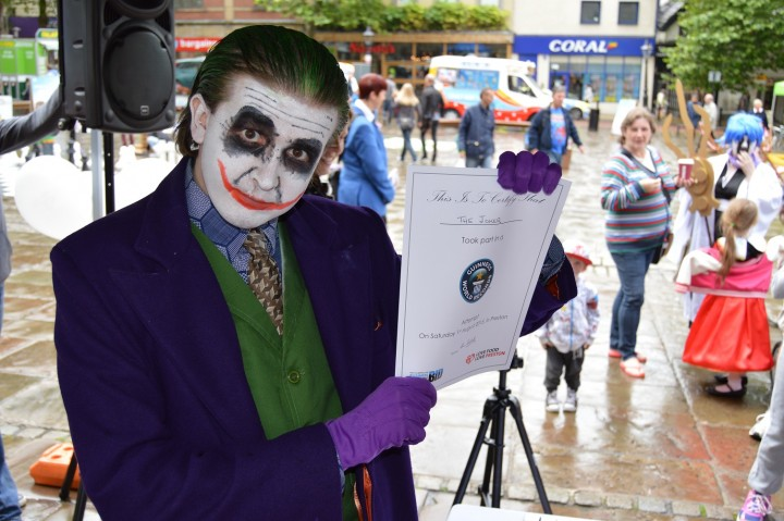 Characters from the Preston Comic Con in the Guild Hall also tried to set the new record