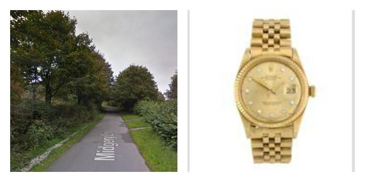 Midgery Lane where the incident happened and a Rolex similar to what was taken