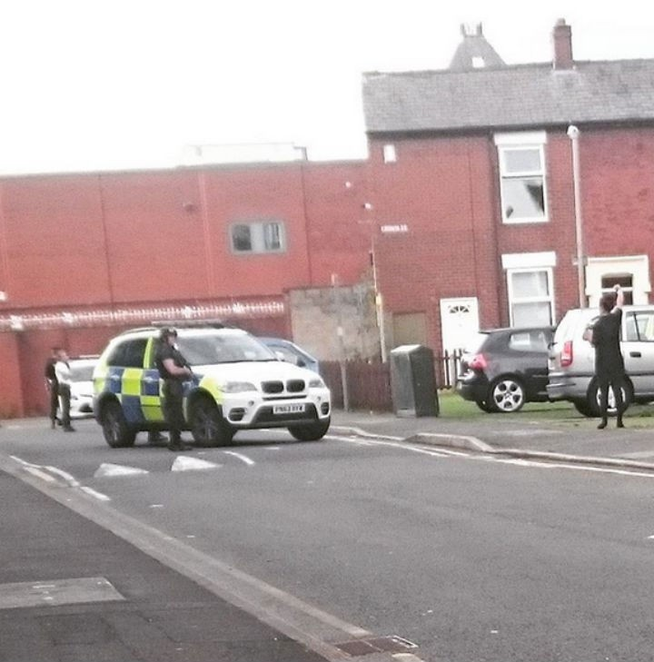 Officers close off the junction of Crown Street and Atkinson Close Pic: givemetruth