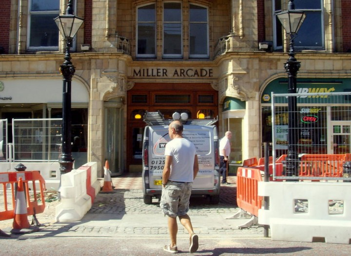 The pavements outside the Miller Arcade have seen extensive work throughout the summer Pic: Tony Worrall