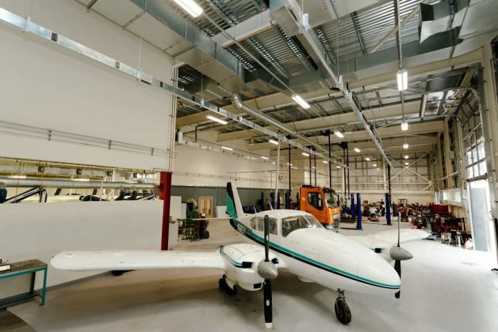 The six-seater twin engine aircraft for learners studying Aeronautical Engineering from Level 3 - HND in the iSTEM Centre at Preston's College