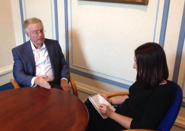 Cllr Peter Rankin is interviewed by Sarah Fielden from the LEP Pic: Evening Post
