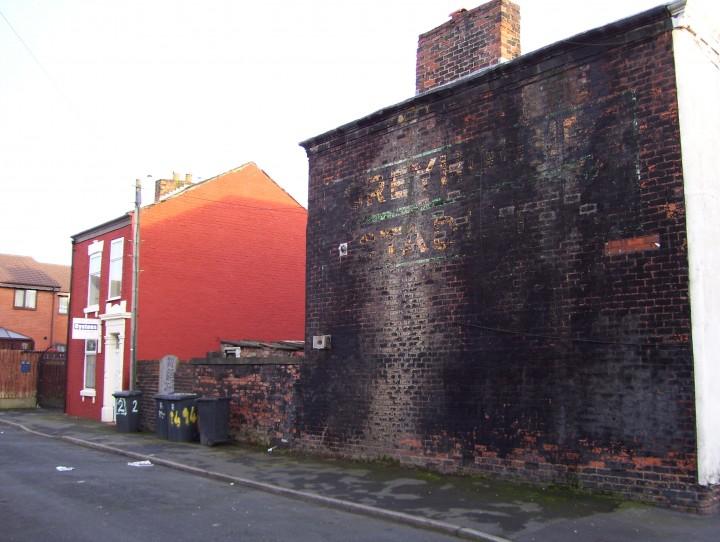 'Ghost Sign' of the Preston Greyhound Stadium in the former Grimsargh Street off Acregate Lane. Pic: John Regan.