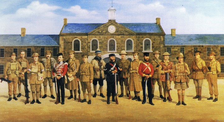 A specially-commissioned composition which hangs in the museum shows 17 of the Regiment's 19 Victoria Cross winners