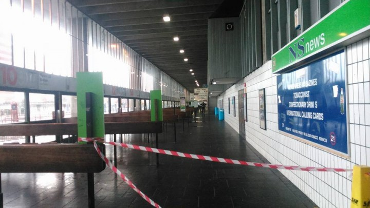 The cordon in place at the Bus Station Pic: Adam Kean