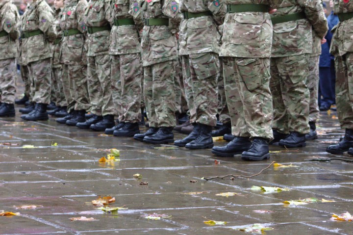 Standing to attention in the rain on Remembrance Sunday Pic: Henna Sheth