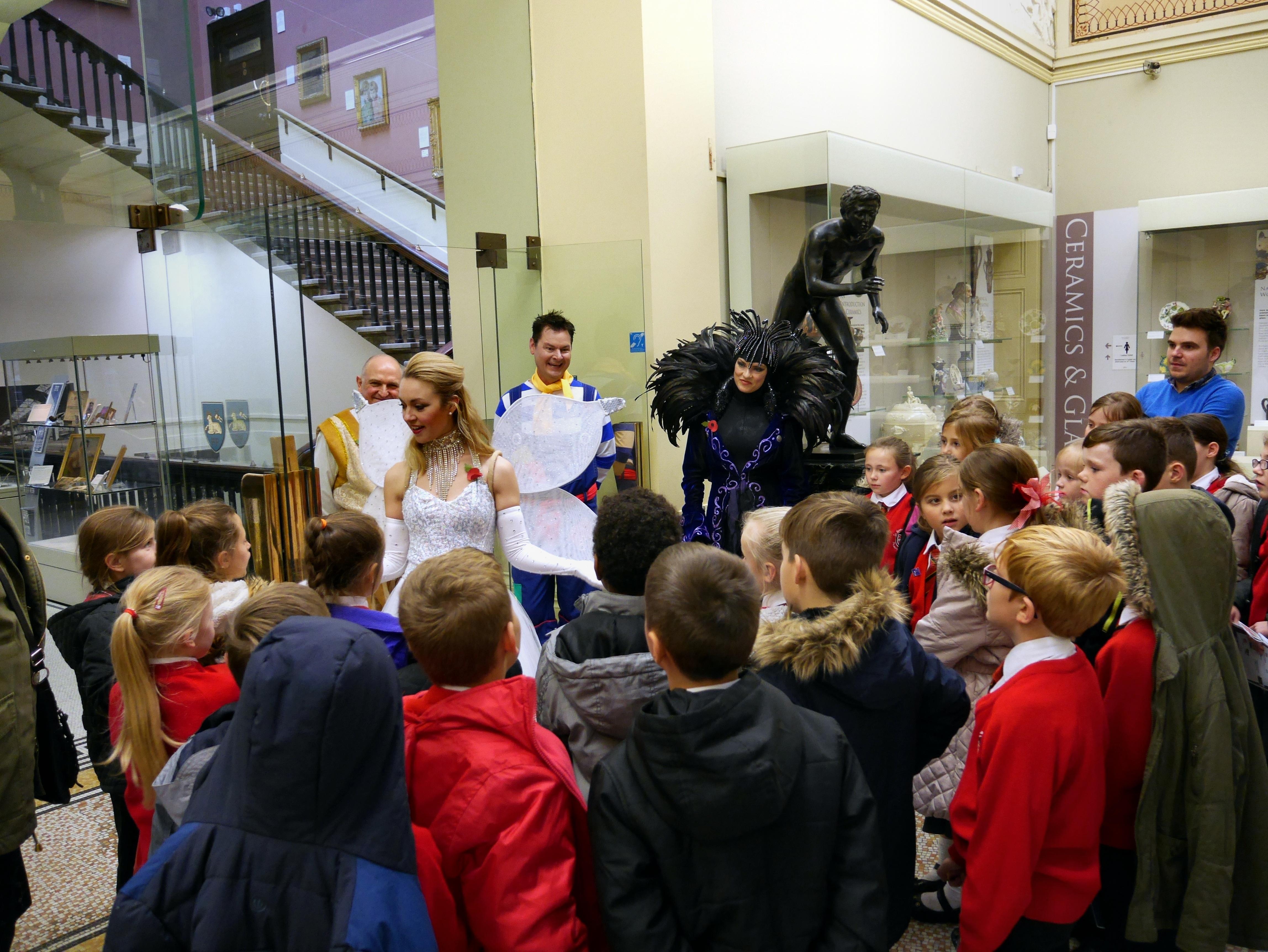 The good fairy (Hayley Hassall) talking to the children of St. Bernard's