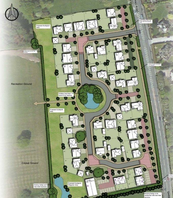An artist impression giving an overview of the Barton homes