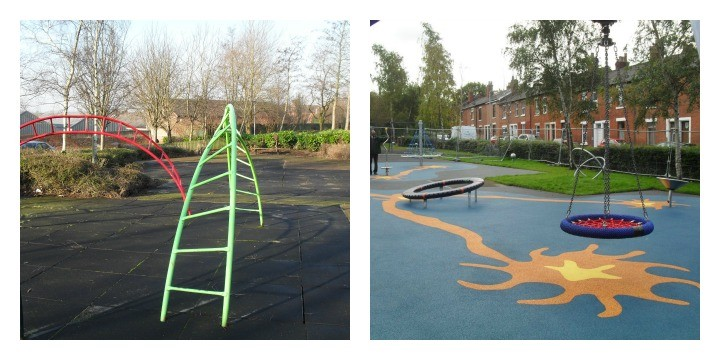 Euston Street park as it was and how it is now