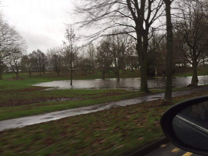 The ever growing puddle seen from Blackpool Road Pic: Lucy-Jayne Ashcroft