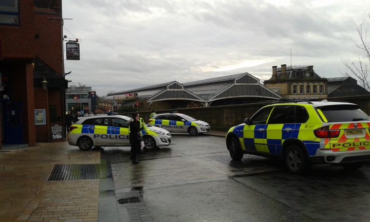 Police cars at the top of Butler Street