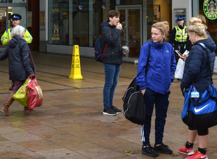 Outside the Fishergate Shopping Centre entrance on Thursday Pic: Tony Worrall
