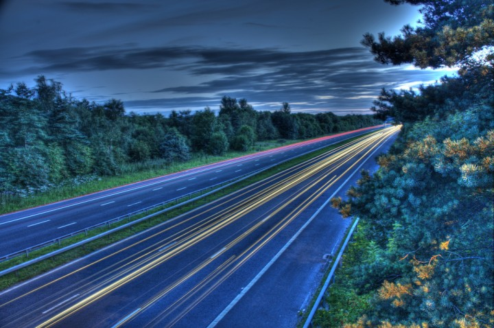 Light trails on the M55 at Preston Pic: Mike Craig