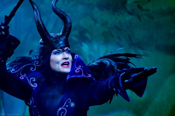Jacqueline Leonard as Maleficent. Pic: Archie Kelly as The King. Pic: Photgrapher Michael Porter