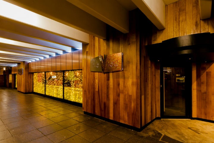 The bar has new cladding and wood-effect