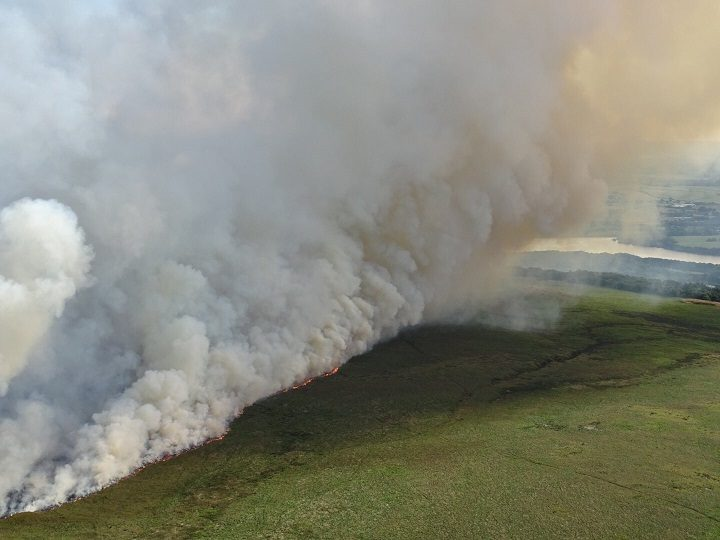 The flames are clearly visible on Rivington moorland Pic: Lancashire Fire and Rescue Service