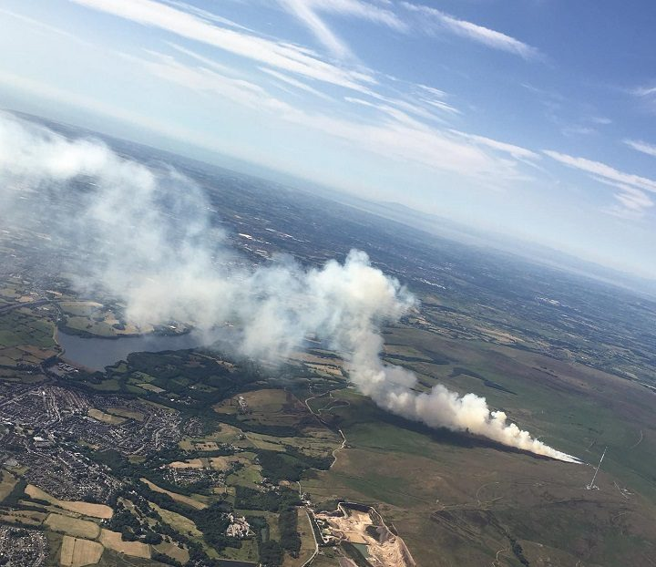 An aerial view of the Rivington fire Pic: Yvonne Grime