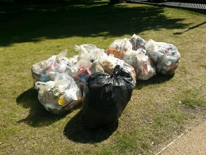 Winckley Square's cleaners collected this rubbish - clear bags from bins and the black bag from litter dotted around