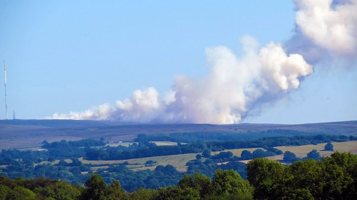 Winter Hill as viewed from Preston, smoke can be seen from the city Pic: Stephen Melling