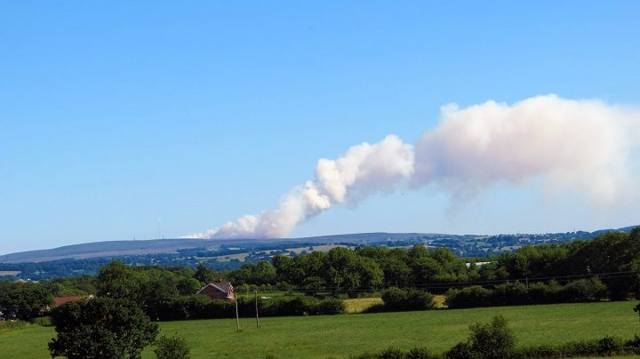 Another view of the moorland fire at Winter Hill Pic: Stephen Melling